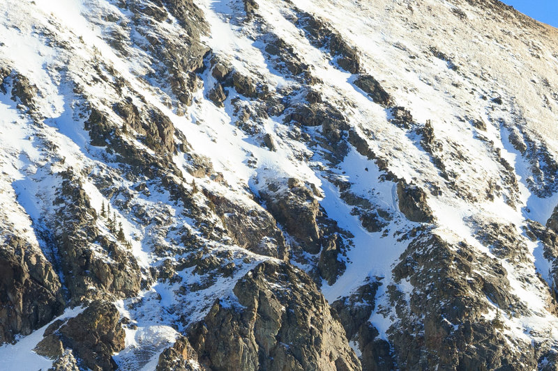 No fall zone ~ the harrowing traverse in the middle of the Ray of Light Couloir