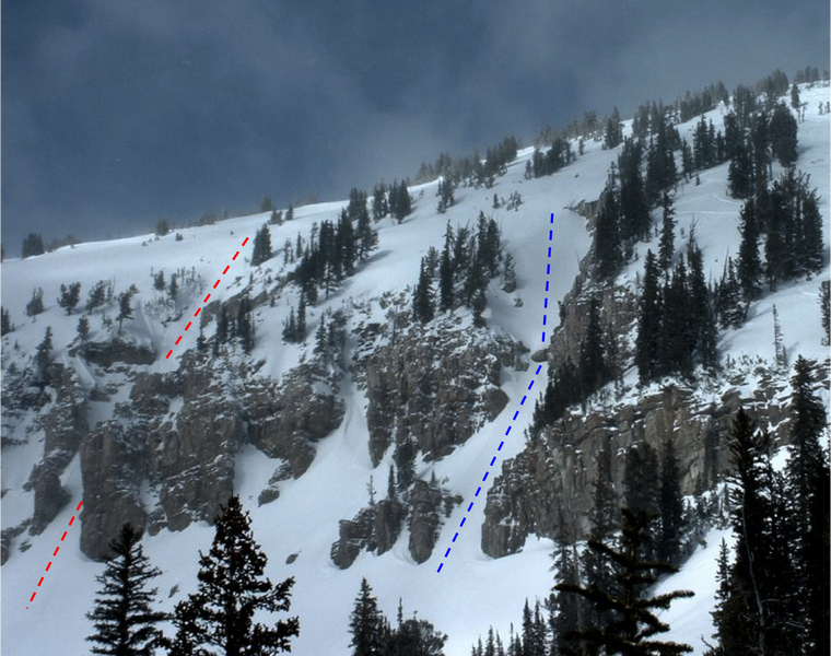 Photo of Spacewalk Couloir (blue dotted line) and Zero G Couloir (red dotted line) from lower Rock Springs.