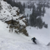 Skiing the exit apron on Spacewalk Couloir. 2/13/18, WY.