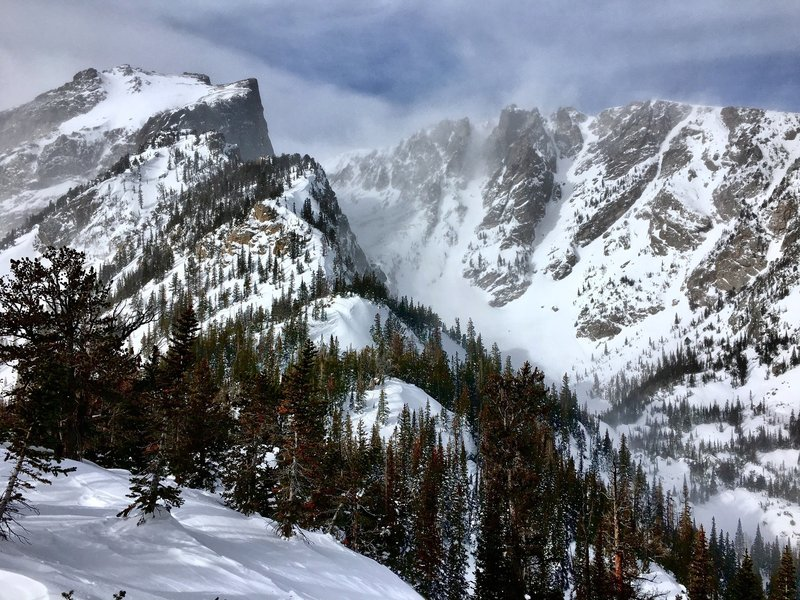 View of Dragontail and Dead Elk on the ridge to Dream Chutes