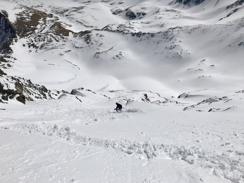Dropping into the steep, east face of Torreys