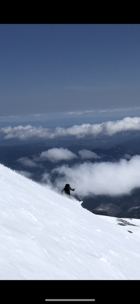 Unknown skier descending the Wy'East Face
