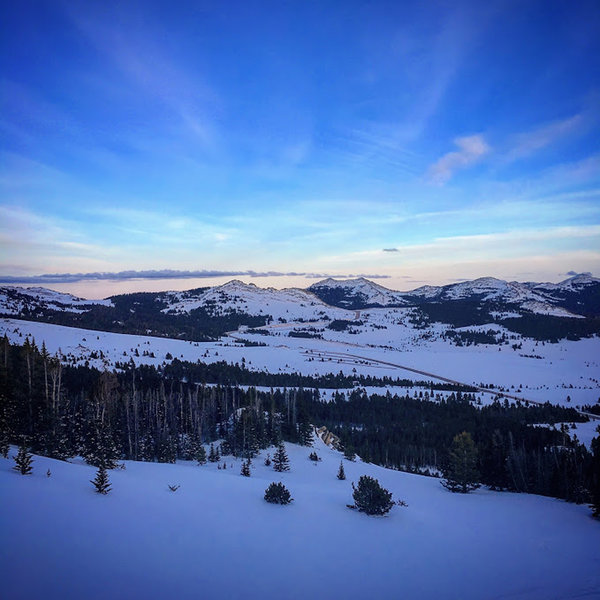 Looking east on top of the Powder River Chute as the sun sets.