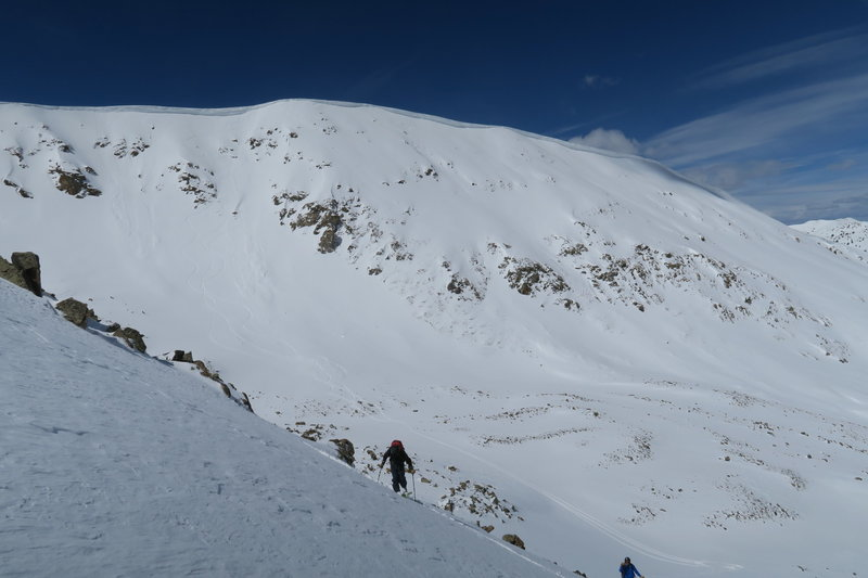 Skinning back up to lap Half Dome. The bowl is on the left, face on the right.