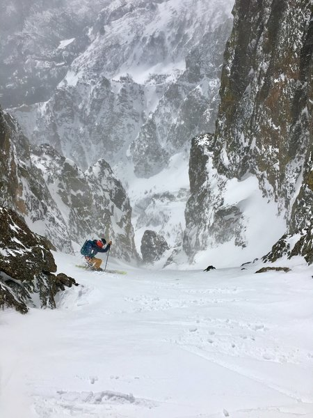 Sam, skiing the first snowfield in Smoke and Dragons
