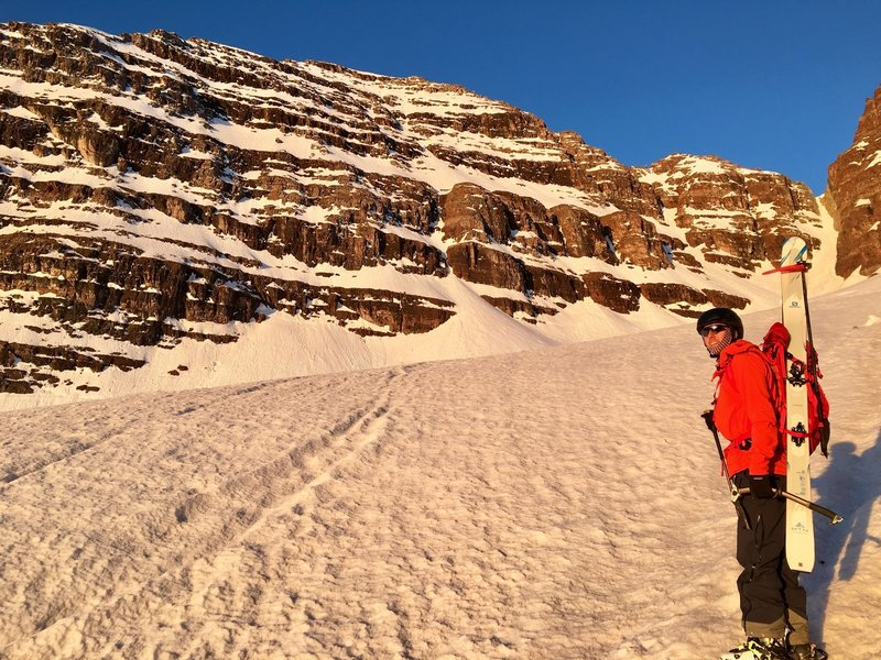 Sunrise from the snowfield below the face.