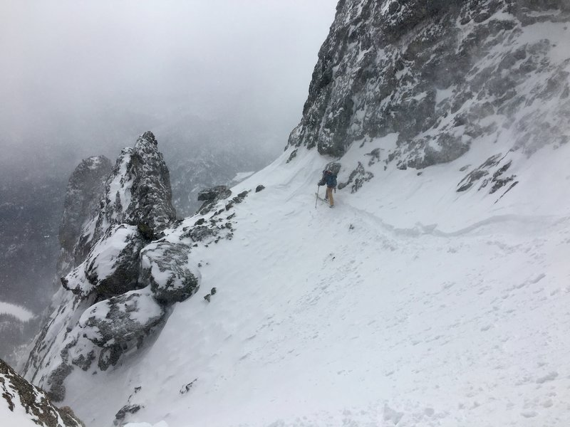The traverse to the start of Smoke and Dragons