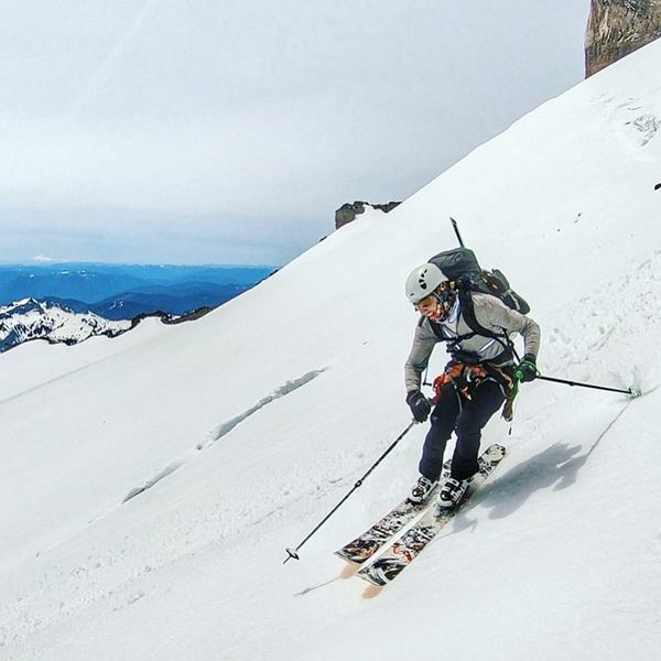 Vik Sahney descending from Little Tahoma (note the crevasse in the background) (Photo credit - Gavin Woody)