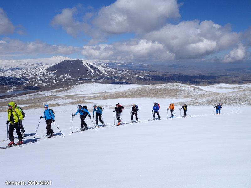 Skiers and mountainous Gegharkunik