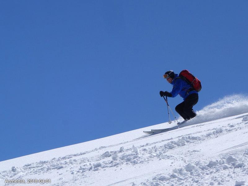 Skiing powder.