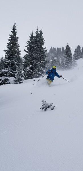 John V skiing the Shoulder - Line A, Nov 23rd 2018