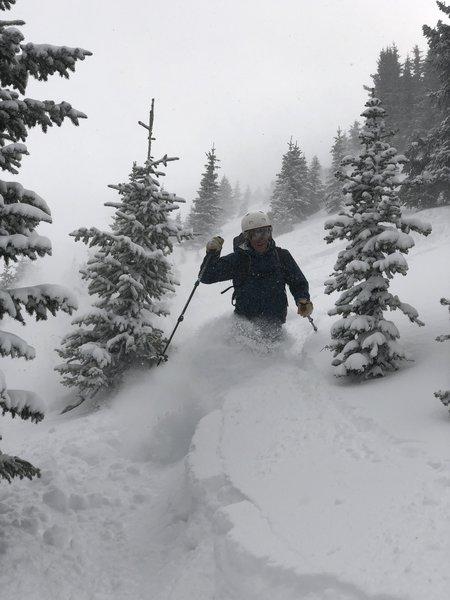 Kevin Gillest skiing The Shoulder - Line A, Nov 23rd 2018