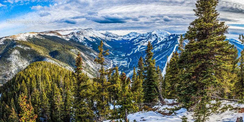 South view from Avalanche Ridge, Long Canyon's west ridge ~ Frazer Mountain, Wheeler Peak, West Simpson, Sin Nombre, Fairview and Kachina Peak.
