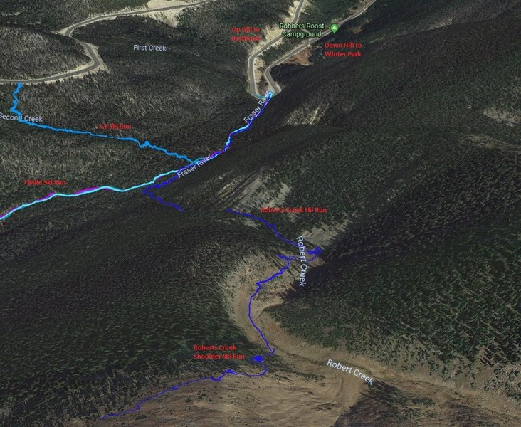 Google Earth view of Roberts Creek approach connecting to the Roberts Shoulder/Creek Ski Run