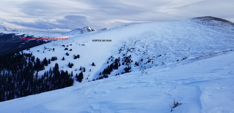 Looking across at the Vortex, 6.3 and 6.5 Ski run starting point, also the start of the Roberts Creek approach. Notice the ski track low on the Vortex