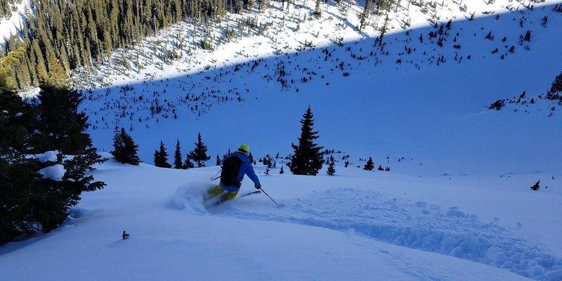 John V skiing the Roberts Creek Shoulder Dec 15, 2018