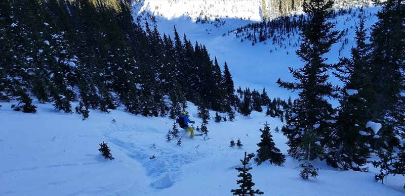 John V skiing the Roberts Creek Shoulder, just above the mouth of the Creek Bed Dec 15, 2018