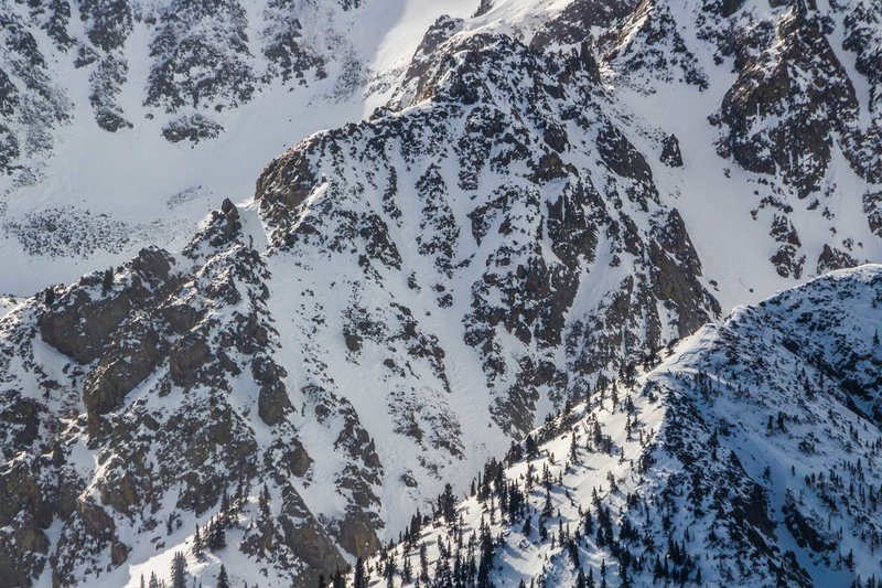 Lake Fork's east ridge from Frazer Mountain.  Cerberus Couloir is in the center, 4th of July on the right