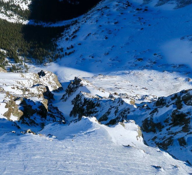 Looking down the couloir from below the cornice, the entrance is to the right of where this was taken.