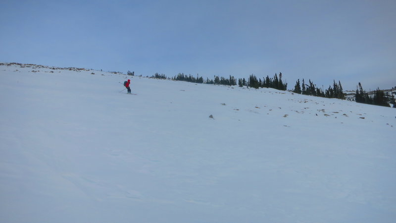 Skiing down the pass in bullet proof conditions.