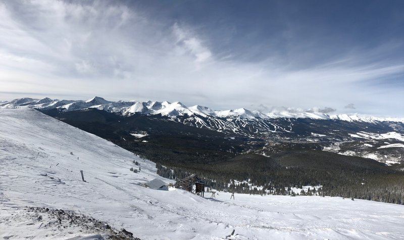 Top of skin track looking at towards Breckenridge.
