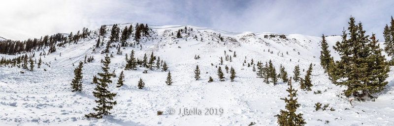 Avalanche Ridge - this massive R4D3.5 slide came down on January 20th, 2018.  The slide was nearly a half mile across Long Canyon's west wall