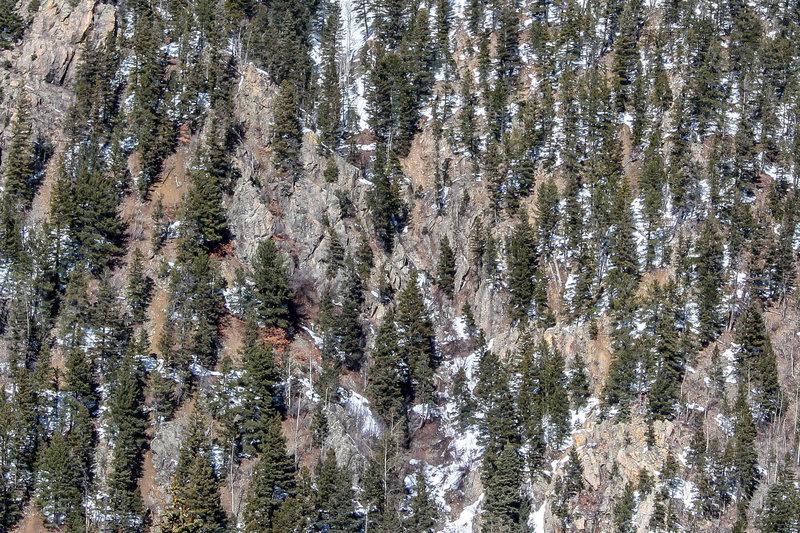 Rock outcrop near the bottom of Tripel Trees