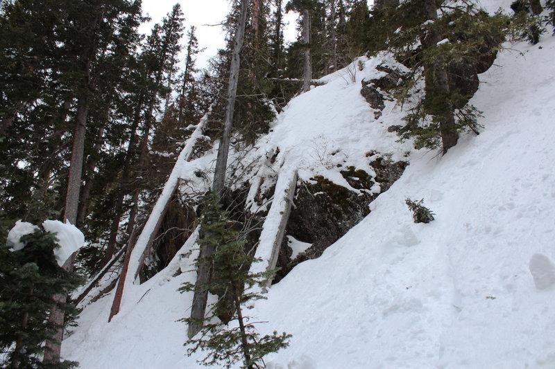 Cliff band near the bottom of King Solomon, staying skier's left avoids the cliff.