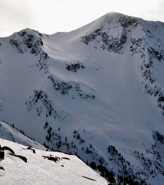 Ski descent from the summit of Steep Peak (center just left of summit). Both cliff bands are visible in the middle of the line as well as the gully option through the 2nd or middle cliff.