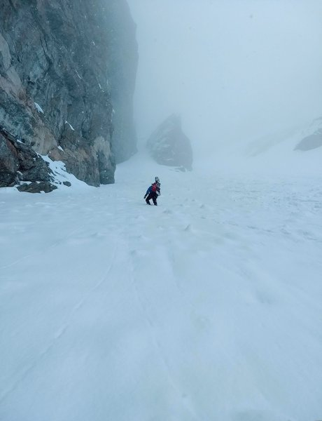 Ascending the couloir (looking up towards the top)