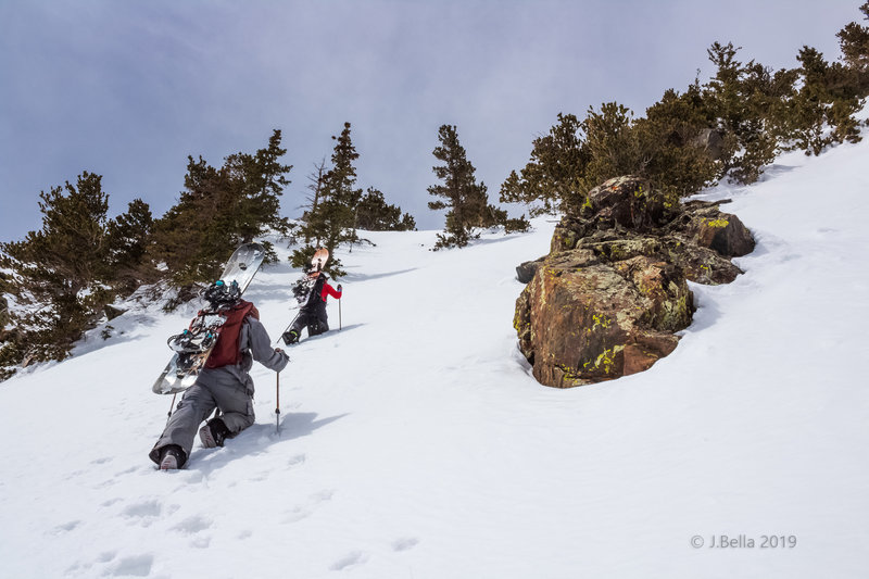Pup's Den 1, climbing towards the steepest part of the chute with a 48° slope angle, April 2, 2019