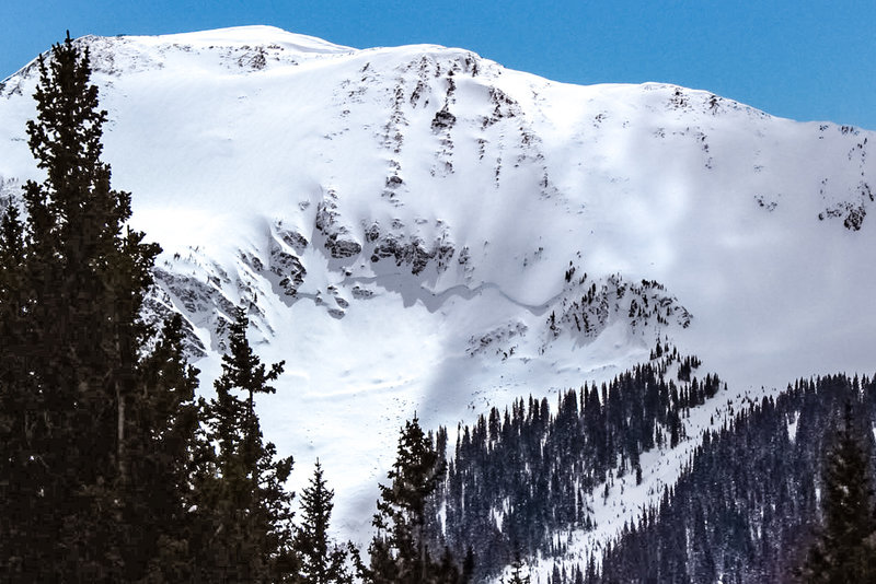 A large slab avalanche on Sin Nombre's lower north face, released during March 2019. Pic from the top of the Bong Chute on March 20th