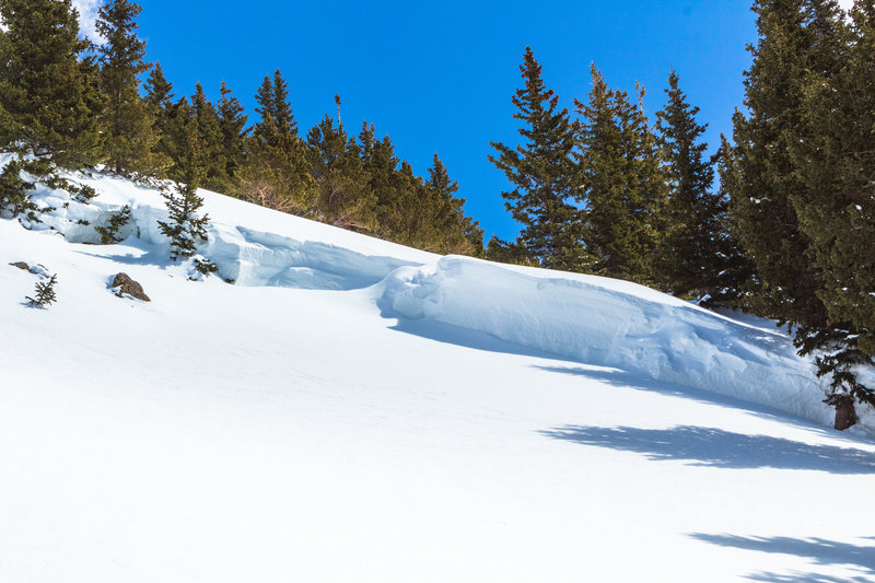 6' deep flank crown near the top of the Bong Chute, R3D2.5 slide released March 14th, pic from March 20th.