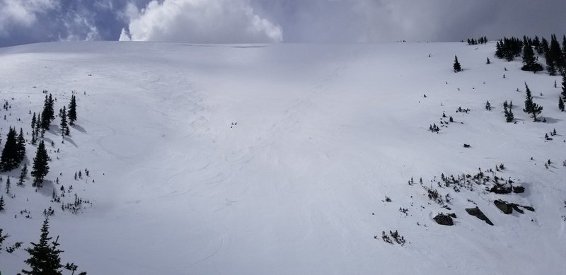 Right tracks are from the Roberts Creek approach, Left Tracks are for the top of the Roberts Creek NE Headwall, Berthoud Pass