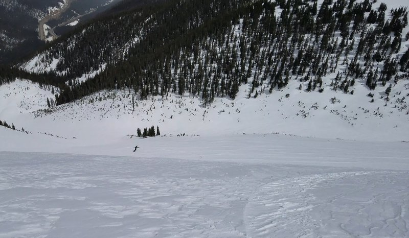 Carl Puim sking off the top of the Roberts Creek NE Headwall April 21st 2019, Berthoud Pass
