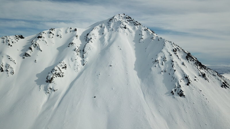 North Face Canwell Pk. Look for ski/snowboard tracks for scale. Photo by Phillip Wilson.