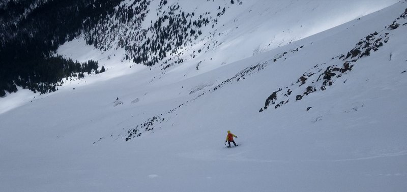 Carl Pluim skiing mid section of Bear Claw 3 on Parry May 11th 2019