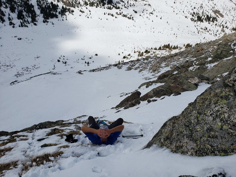 Taking a break while skirting the cliff at the base of the couloir