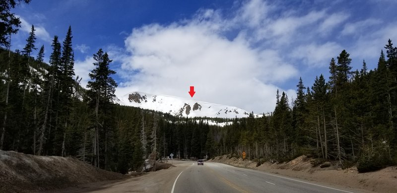 Red arrow shows Hour Glass from corner at Second Creek of Highway 40.