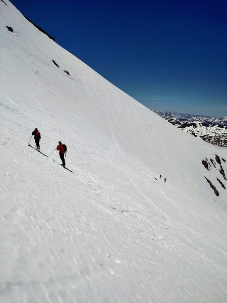 Midway up the grueling climb to Leavitt Peak.