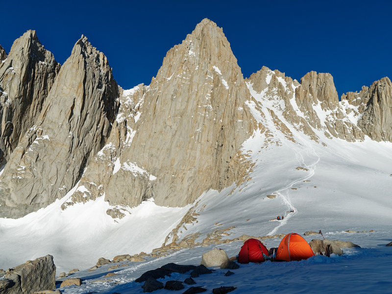 View of the Mountaineers gully from Iceberg Lake