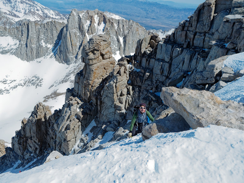 Topping out to the summit plateau. The Notch is barely visible at the very bottom left corner.