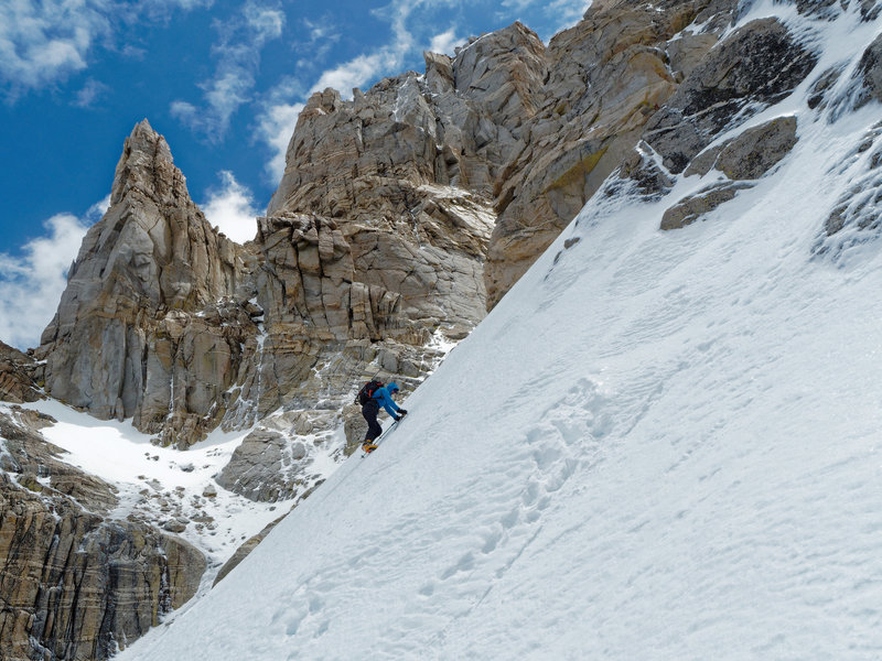 East Couloir under icy, unskiable conditions
