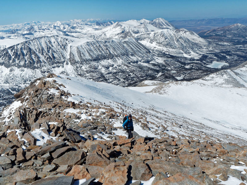 On the summit ridge during a low-snow year