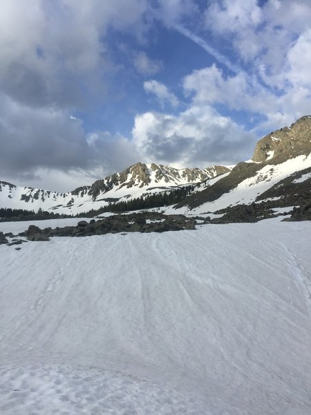 Deception Couloir in the center, from William's Lake