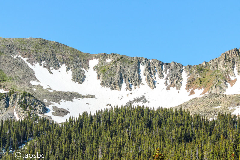 Sin Nombre's rugged northeast slopes on July 10th, 2019, after a typically average snowfall season
