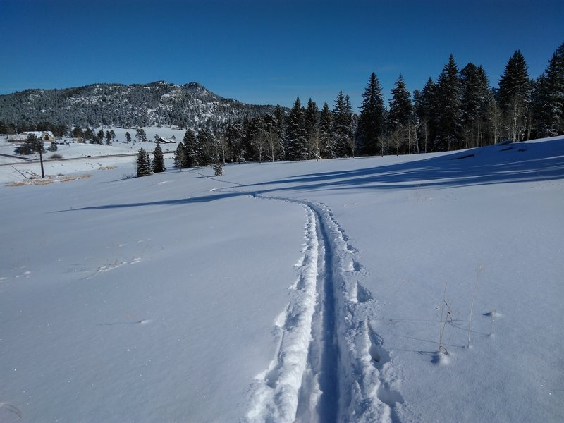 An ascending traverse of the old ski run.