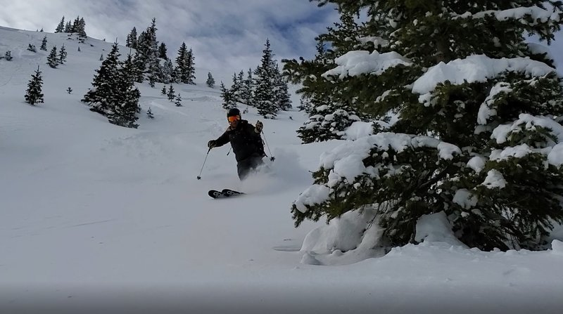 Awesome powder a few hundred feet from drop in point.
