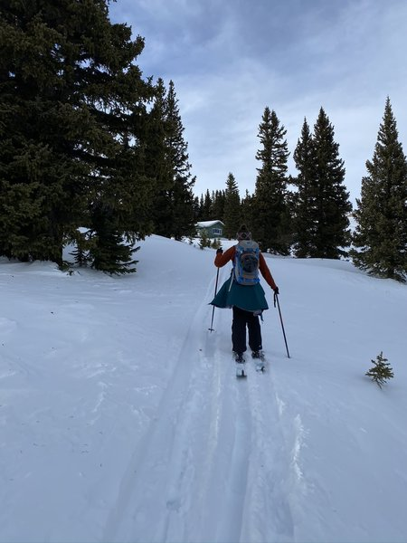 Kristin approaching the Ski Patrol Hut near the top of Geneva Basin Ski Area 2/1/2020.