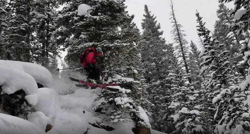"""Lower down on 7 Mile, area we are call """"The Waterfall"""". Skier Garrett Gillest, age 13."""